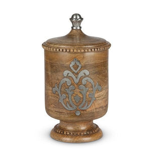 "GG Collection Heritage Wood and Metal Inlay Medium Canister 13"" - Benton and Buckley"