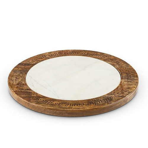 GG Collection Marble and Wood Lazy Susan - Benton and Buckley