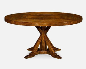 "60"" Country Walnut Round Dining Table for Inbuilt Lazy Susan - Benton and Buckley"