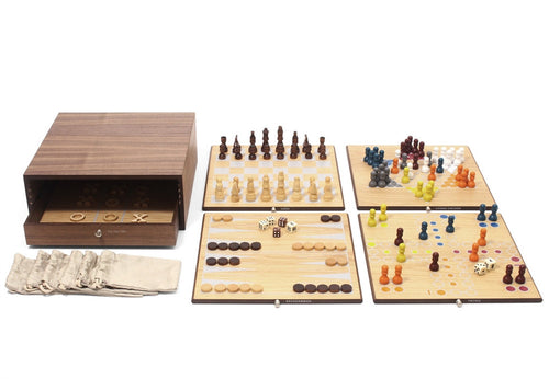 Collector's Edition 5 in 1 Game Set with Walnut and Oak Finish - CITY LIFE CATALOG - 1