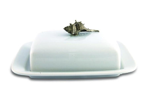 Conch Shell Stoneware and Pewter Butter Dish - Benton and Buckley