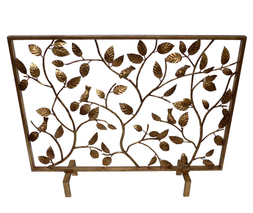 ANTIQUE GOLD BIRD BRANCH FIRESCREEN - GDH | The decorators department Store