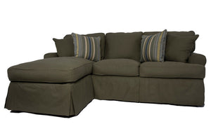 Horizon Slipcovered Sleeper Sofa and Chaise | Forest Green