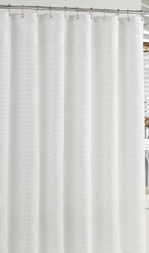 Hotel Waffle-weave Shower Curtain|  White - Benton and Buckley
