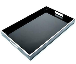 Black Lacquer Breakfast Tray with White Trim  14 x 22 - Benton and Buckley
