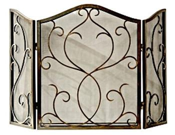 Bronze Flare Scroll Mesh Firescreen - GDH | The decorators department Store