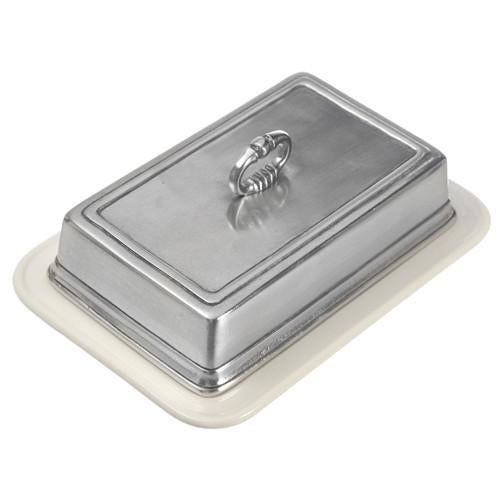 Match Pewter Convivio Double Butter Dish with Cover - Benton and Buckley