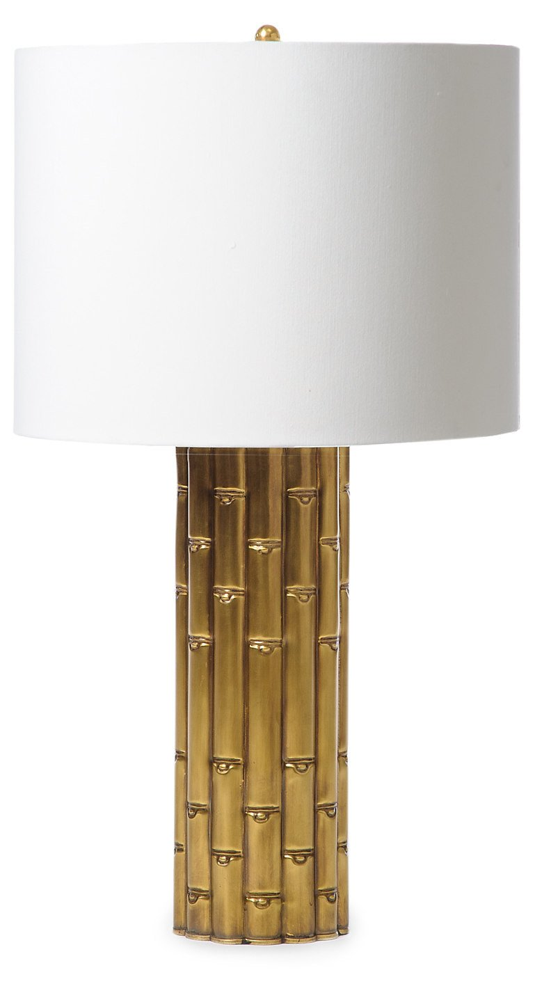 Bamboo Lamp   Antiqued Brass