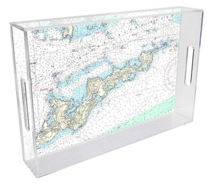 Fisher's Island Nautical Chart Lucite Tray - Benton and Buckley