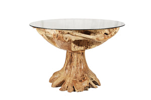 Round Teak Table w / Glass - Benton and Buckley