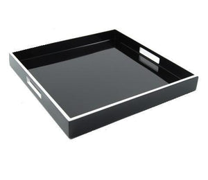 Black Lacquer with White Trim Serving Tray 22 x 22 - Benton and Buckley