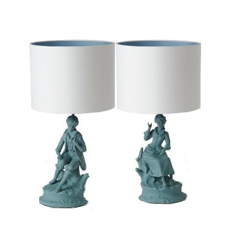 Boy and Girl Teal Lamps