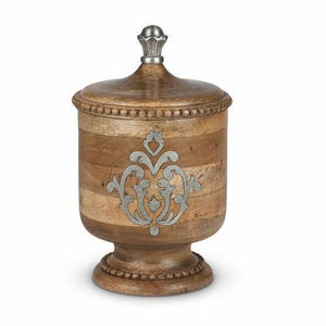 "GG Collection Heritage Wood and Metal Inlay Small Canister 12"" - Benton and Buckley"