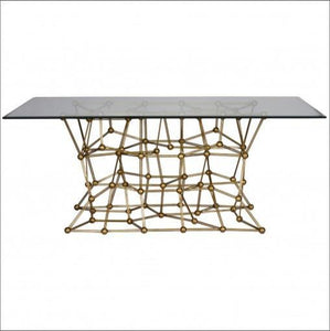 "Molecule Dining Table 72"" in Gold - Benton and Buckley"