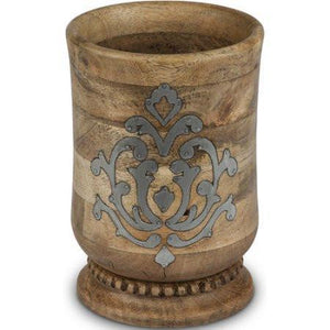 GG Collection Heritage Wood and Metal Inlay Utensil Holder - Benton and Buckley