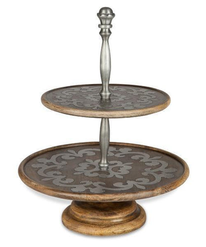 GG Collection Heritage Wood and Metal Inlay Two Tiered Server - Benton and Buckley