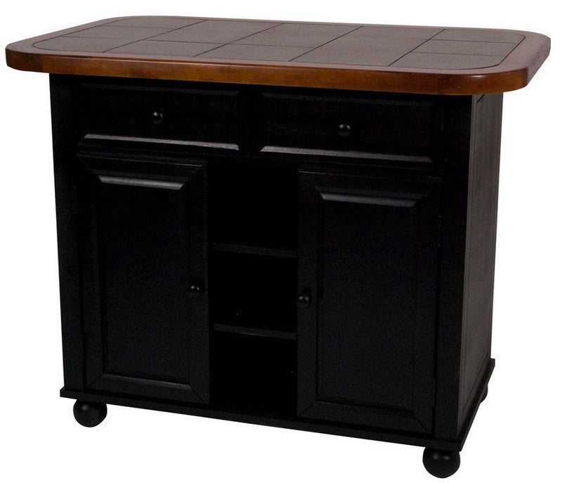 Antique Black Small Kitchen Island With Inlaid Gray Granite Top
