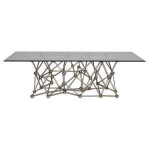 "Molecule Silver Leaf Dining Table 72"" - Benton and Buckley"