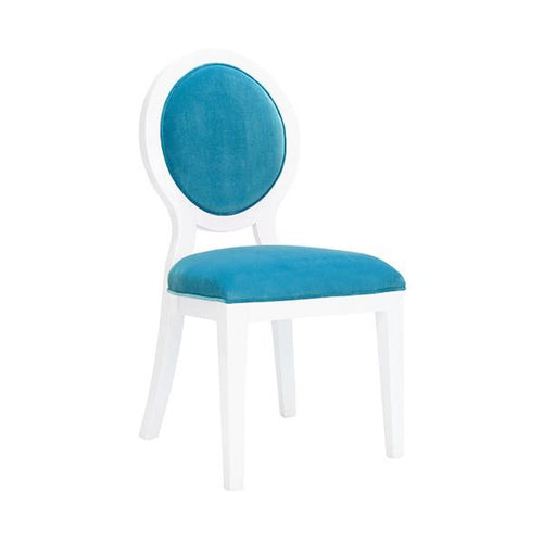 Overton Oval Back Dining Chair in White Lacquer | Turquoise velvet