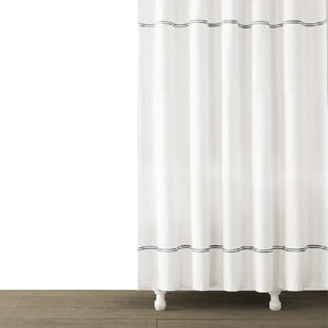 Double Line Embroidered Shower Curtain | Pewter