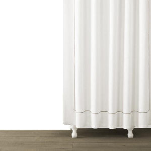 Single Line Embroidered Shower Curtain | Taupe - Benton and Buckley