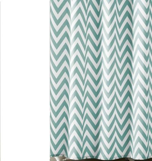 Chevron Shower Curtain White Spa Blue CITY LIFE CATALOG
