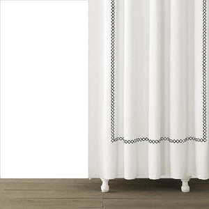 Tivoli Embroidered Shower Curtain | Black - Benton and Buckley