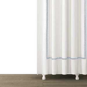 Tivoli Embroidered Shower Curtain | Blue - Benton and Buckley