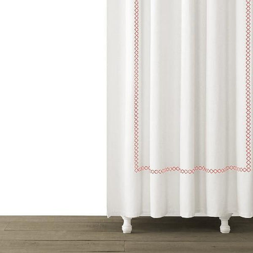 Tivoli Embroidered Shower Curtain | Coral - Benton and Buckley