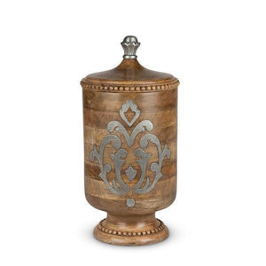 "GG Collection Heritage Wood and Metal Inlay Medium Canister 14"" - Benton and Buckley"