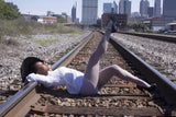 Cess's White Pantyhose- Summer Hat Blouse and Pantyhose - leggy