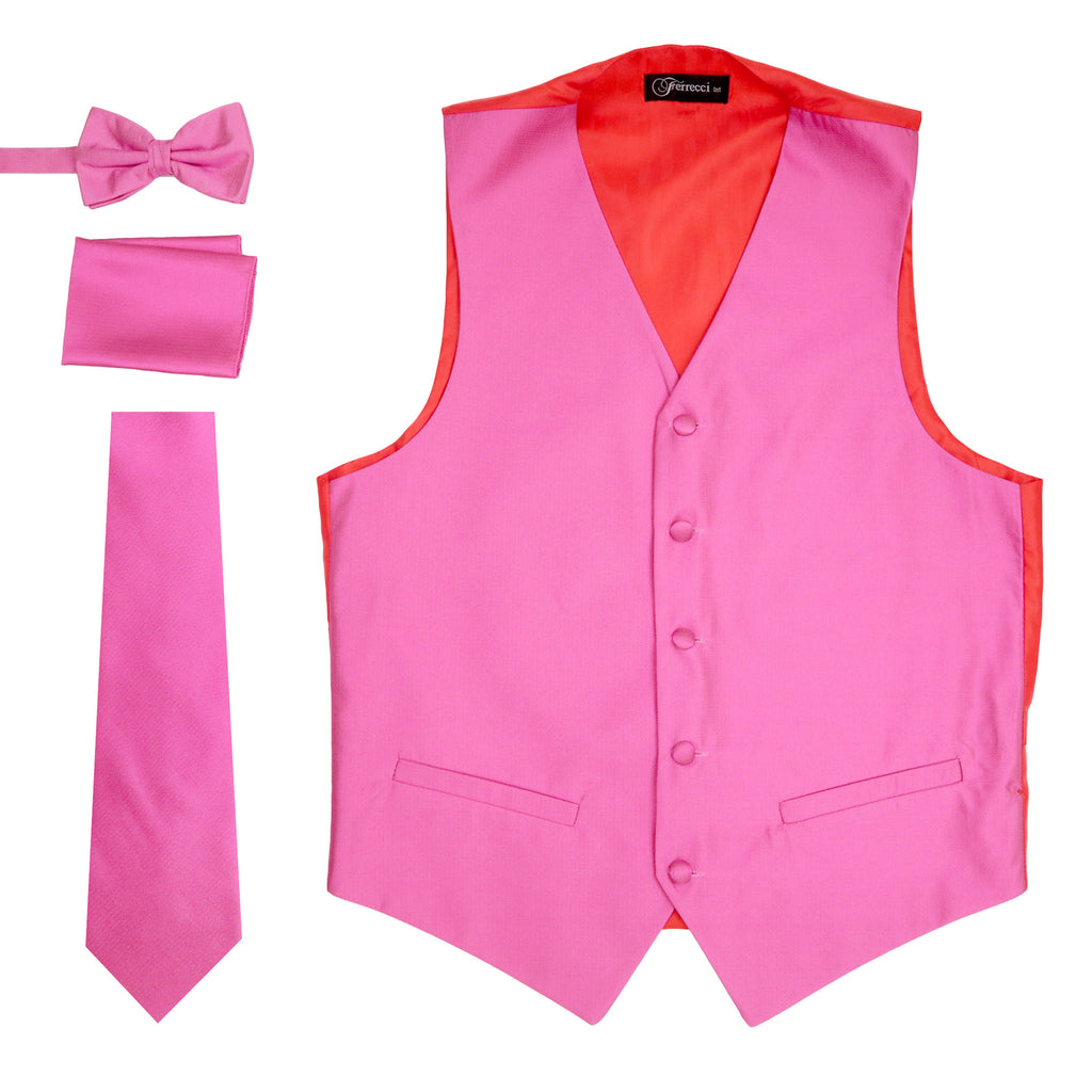 Ferrecci Mens Solid Fuchsia-Pink Wedding Prom Grad Choir Band 4pc Vest Set - FHYINC best men's suits, tuxedos, formal men's wear wholesale