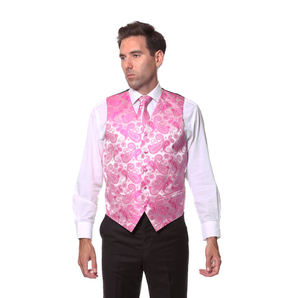 Ferrecci Mens Fuchsia Paisley Wedding Prom Grad Choir Band 4pc Vest Set - FHYINC best men's suits, tuxedos, formal men's wear wholesale