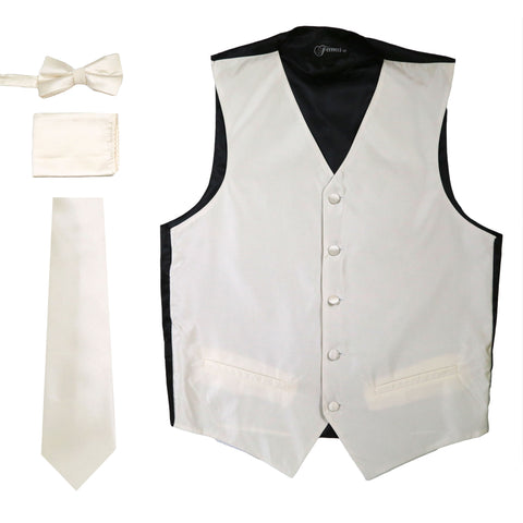 Ferrecci Mens Solid Champagne Wedding Prom Grad Choir Band 4pc Vest Set