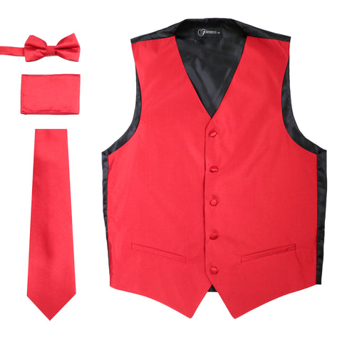 Ferrecci Mens Solid Red Wedding Prom Grad Choir Band 4pc Vest Set