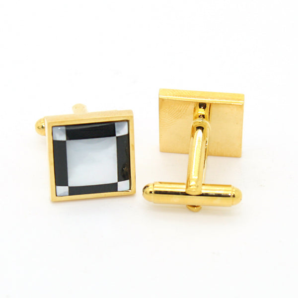 Goldtone Black and White Square Cuff Links With Jewelry Box - FHYINC best men's suits, tuxedos, formal men's wear wholesale