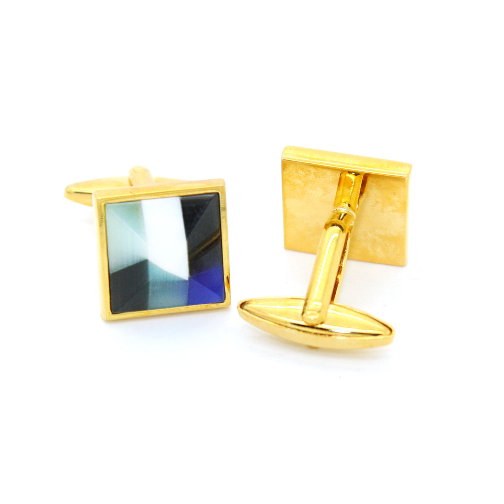 Goldtone Mix Stripe Cuff Links With Jewelry Box - FHYINC best men