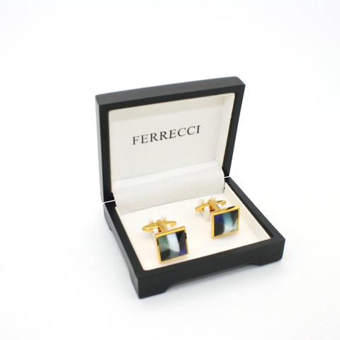 Goldtone Mix Stripe Cuff Links With Jewelry Box
