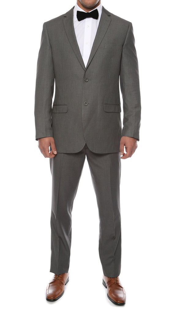 Alfa Charcoal Chalk 2pc Slim Fit Pinstripe Suit - FHYINC best men