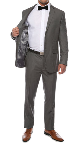 Alfa Charcoal Chalk 2pc Slim Fit Pinstripe Suit