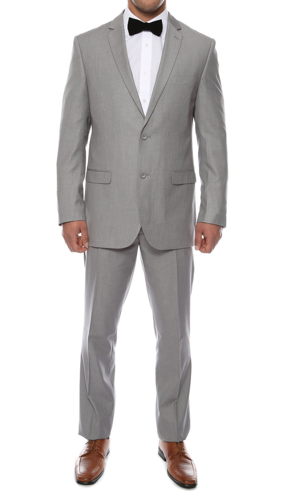 Alfa Light Grey Chalk 2pc Slim Fit Pinstripe Suit - FHYINC best men