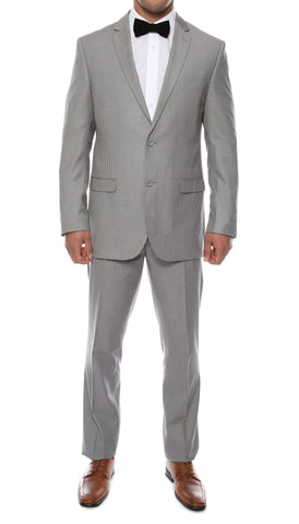 Alfa Light Grey Chalk 2pc Slim Fit Pinstripe Suit