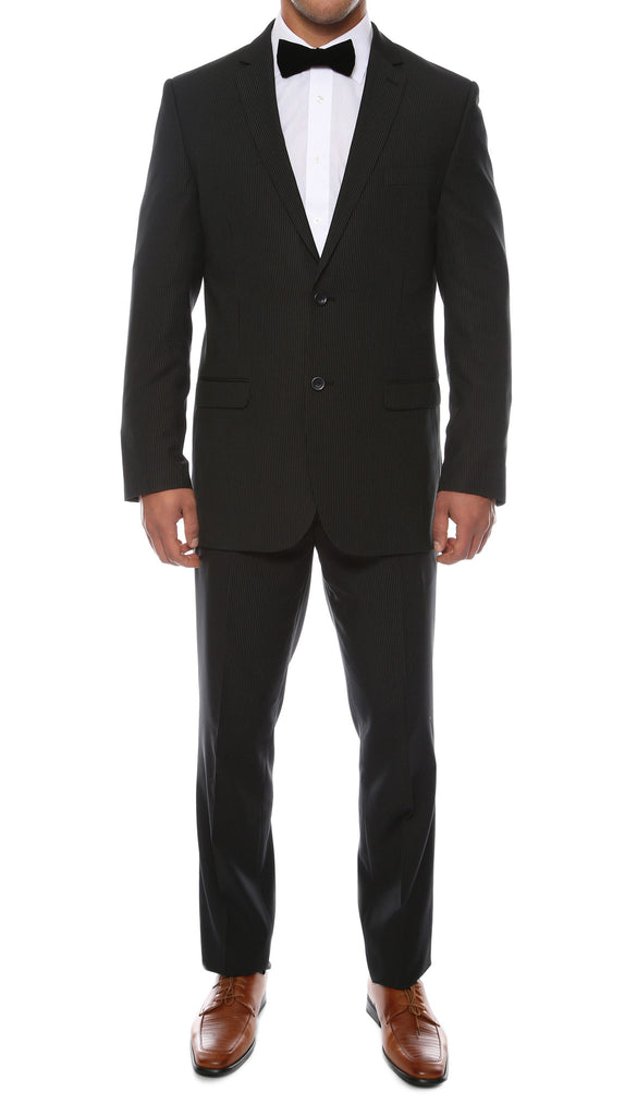 Alfa Black Chalk 2pc Slim Fit Pinstripe Suit - FHYINC best men