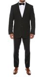 Alfa Black Chalk 2pc Slim Fit Pinstripe Suit - FHYINC best men's suits, tuxedos, formal men's wear wholesale