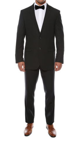 Alfa Black Chalk 2pc Slim Fit Pinstripe Suit