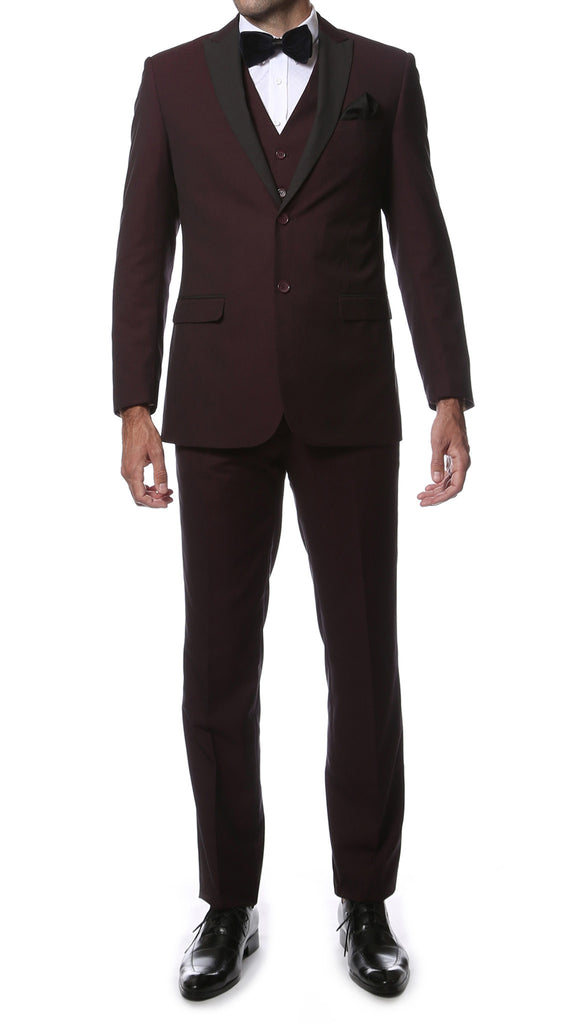 The Alta Moda 3pc Peak Lapel Burgundy Super Slim Tuxedo - FHYINC best men's suits, tuxedos, formal men's wear wholesale