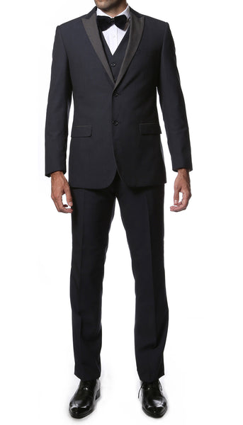 The Alta Moda 3pc Navy Peak Lapel Super Slim Tuxedo - FHYINC best men's suits, tuxedos, formal men's wear wholesale