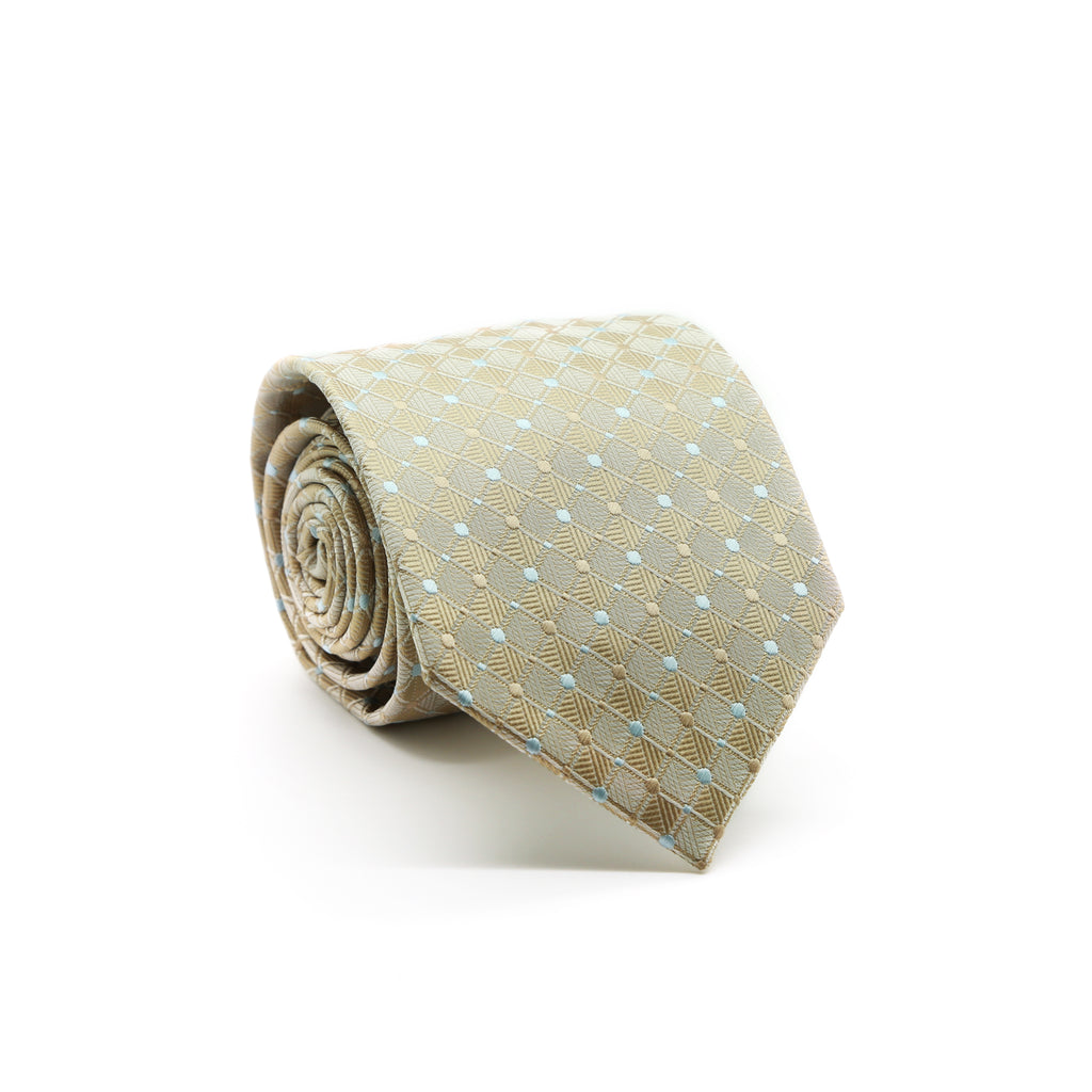 Ferrecci Mens Beige Diamond Necktie with Handkerchief Set - FHYINC best men