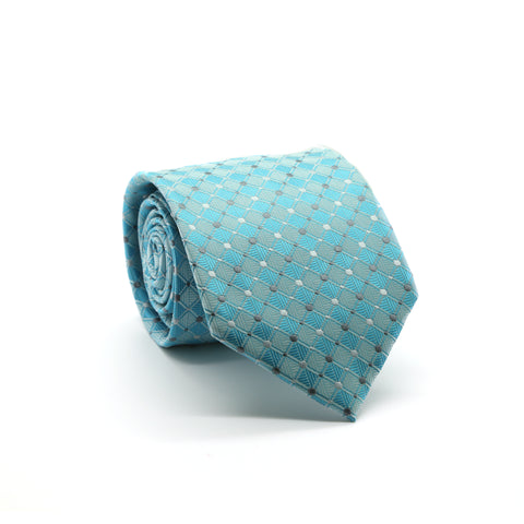 Ferrecci Mens Turquoise Diamond Necktie with Handkerchief Set