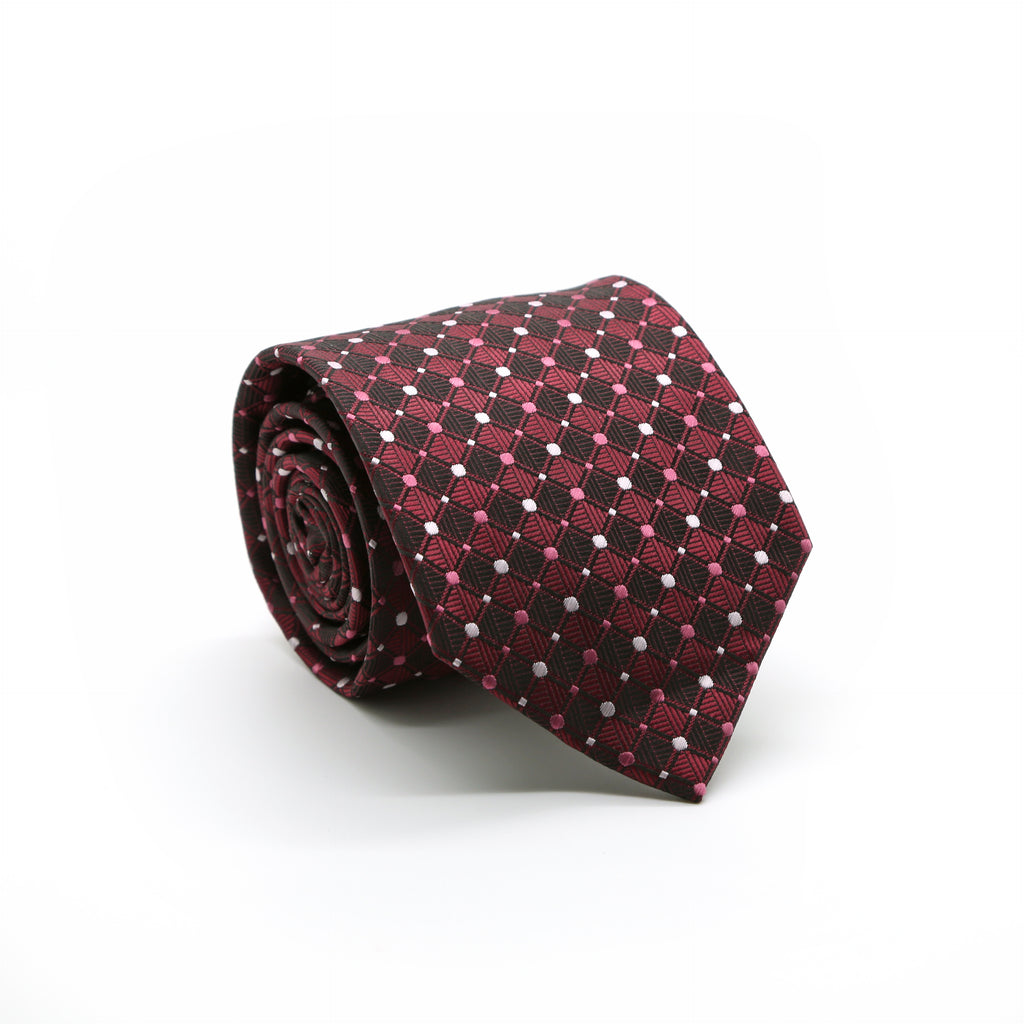 Ferrecci Mens Red Diamond Necktie with Handkerchief Set - FHYINC best men